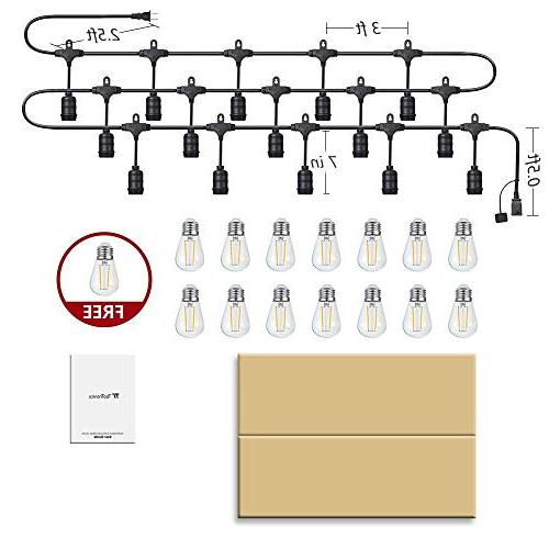 LED TaoTronics 50ft Grade Outdoor Patio Lights, Duty 16xS14 LED Bulbs String UL588 & ETL