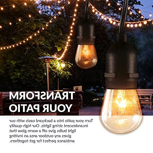 Newhouse Lighting Outdoor String Lights with Hanging Incandescent Heavy 48-foot | 18 Lights Bulbs Included