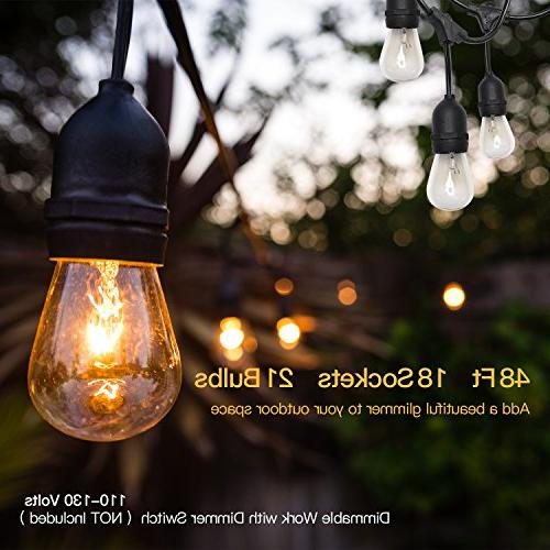 JACKYLED 48FT Outdoor Lights Commercial Grade UL 18 Lights Vintage Ambience Duty 21 Bulbs for Wedding