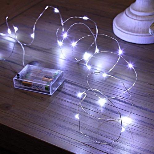 XINKAITE String Lights, 30 9.8Feet/3M Silver Wire Lights, Battery Party Christmas Decorations, Cold