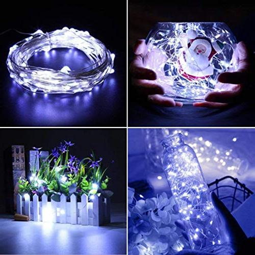 XINKAITE Lights, 30 Micro LEDs 9.8Feet/3M Silver Fairy Lights, Battery String Party Christmas Cold White
