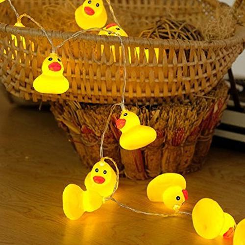 elegantstunning LED String Plastic Yellow Duck String Battery-Powered Fairy Light Home Party Yard Decor