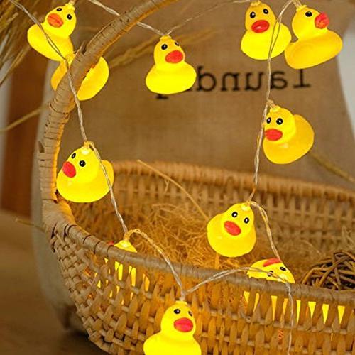elegantstunning LED Plastic Duck String Battery-Powered Light Home Party Garden Decor