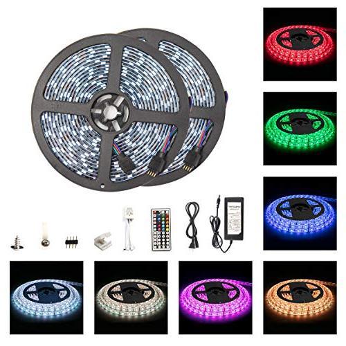 Led Strip Light Waterproof 600leds 32.8ft 10m Waterproof Flexible SMD 600leds Strip Light 44 Keys Controller 12V Power Supply