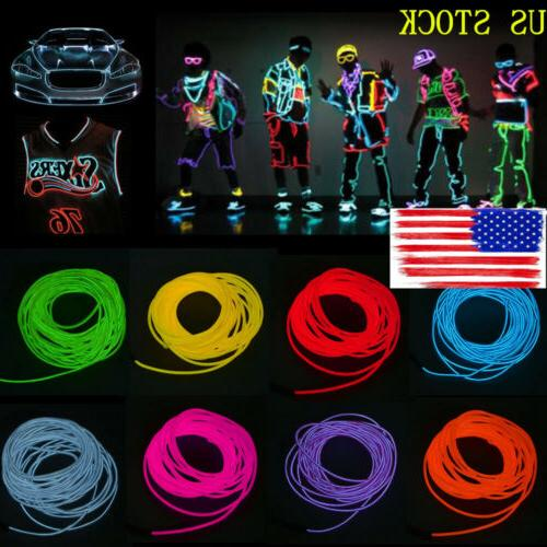 US 1/2/3/5M LED Light Glow EL Wire String Strip Rope Battery