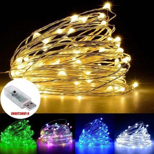 USA 100 LEDs USB Operated Mini Silver Copper Wire String Fai