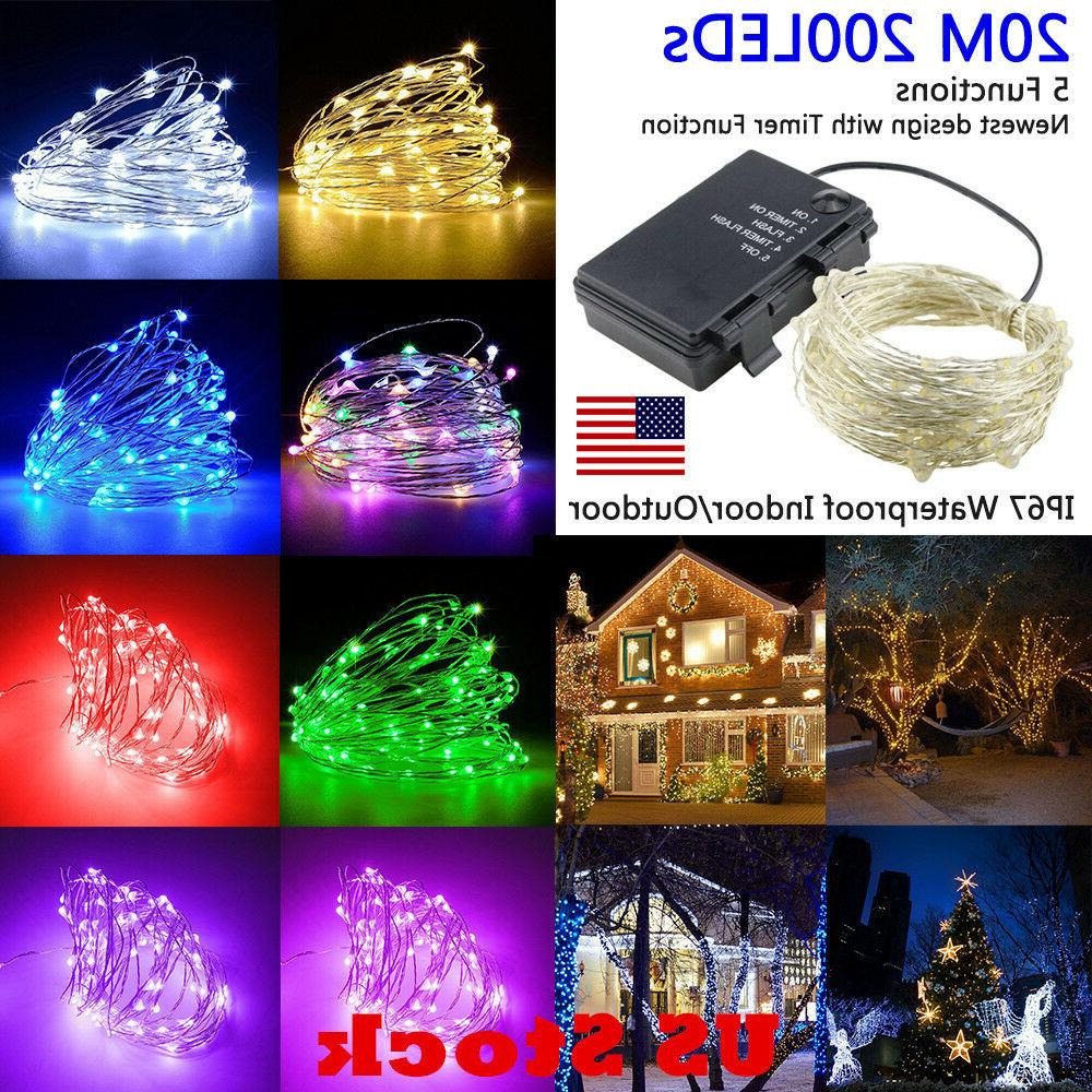 USA Timer LED Silver Wire Outdoor Fairy String Lights 20M 20