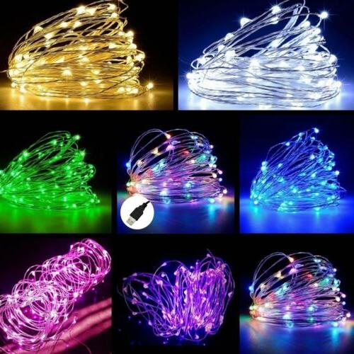 USB 5M / 10M / 20M LED Copper Wire String light Indoor Outdo