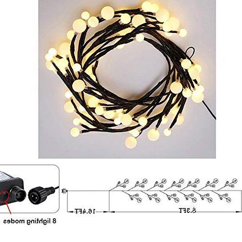 YMING 8.3Ft Modes Led Lights, Outdoor Lights Plug Bedroom Garden Warm White