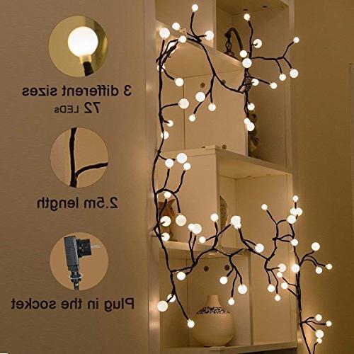 YMING Globe 8.3Ft Modes 72 Led Lights, Lights Plug for Bedroom Christmas Halloween Garden Party, White