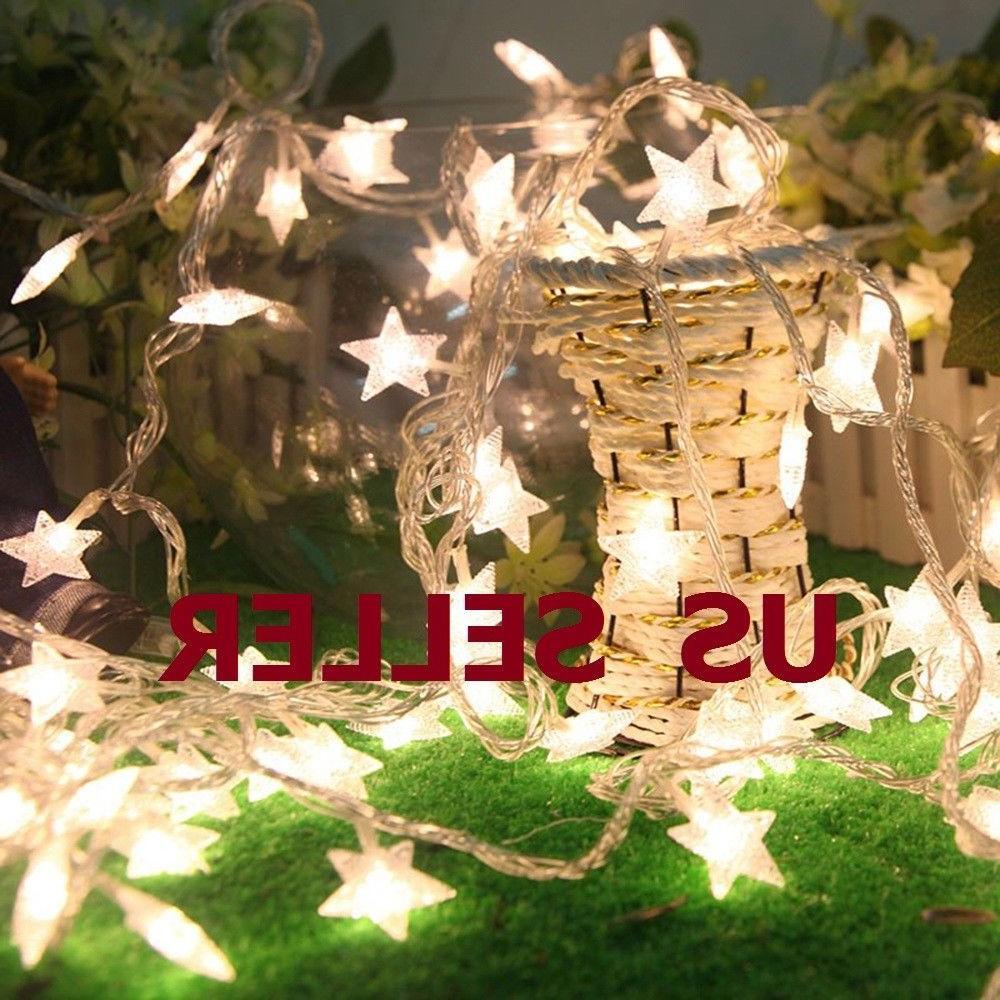 Warm White 10/20/30/40LED Christmas Star Fairy Lights
