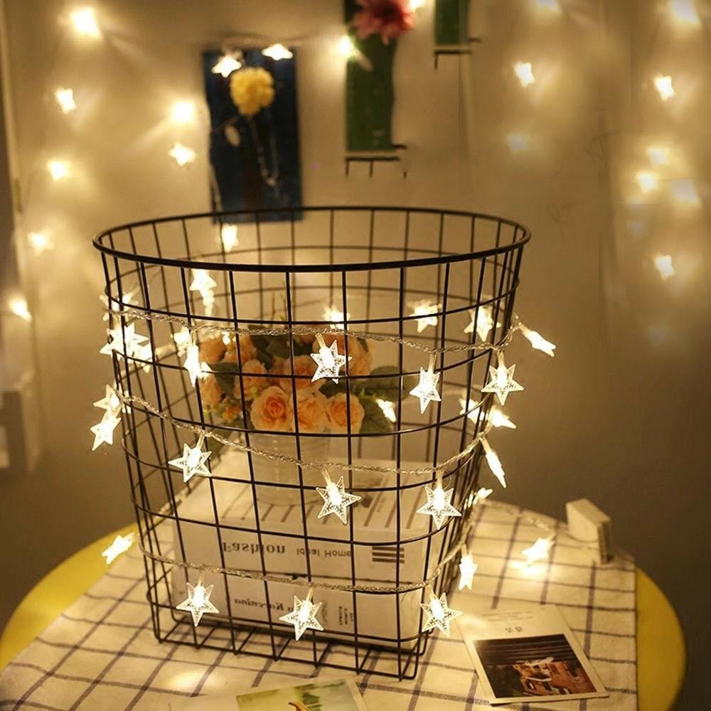 Warm 10/20/30/40LED Indoor Christmas Party String Star Lights
