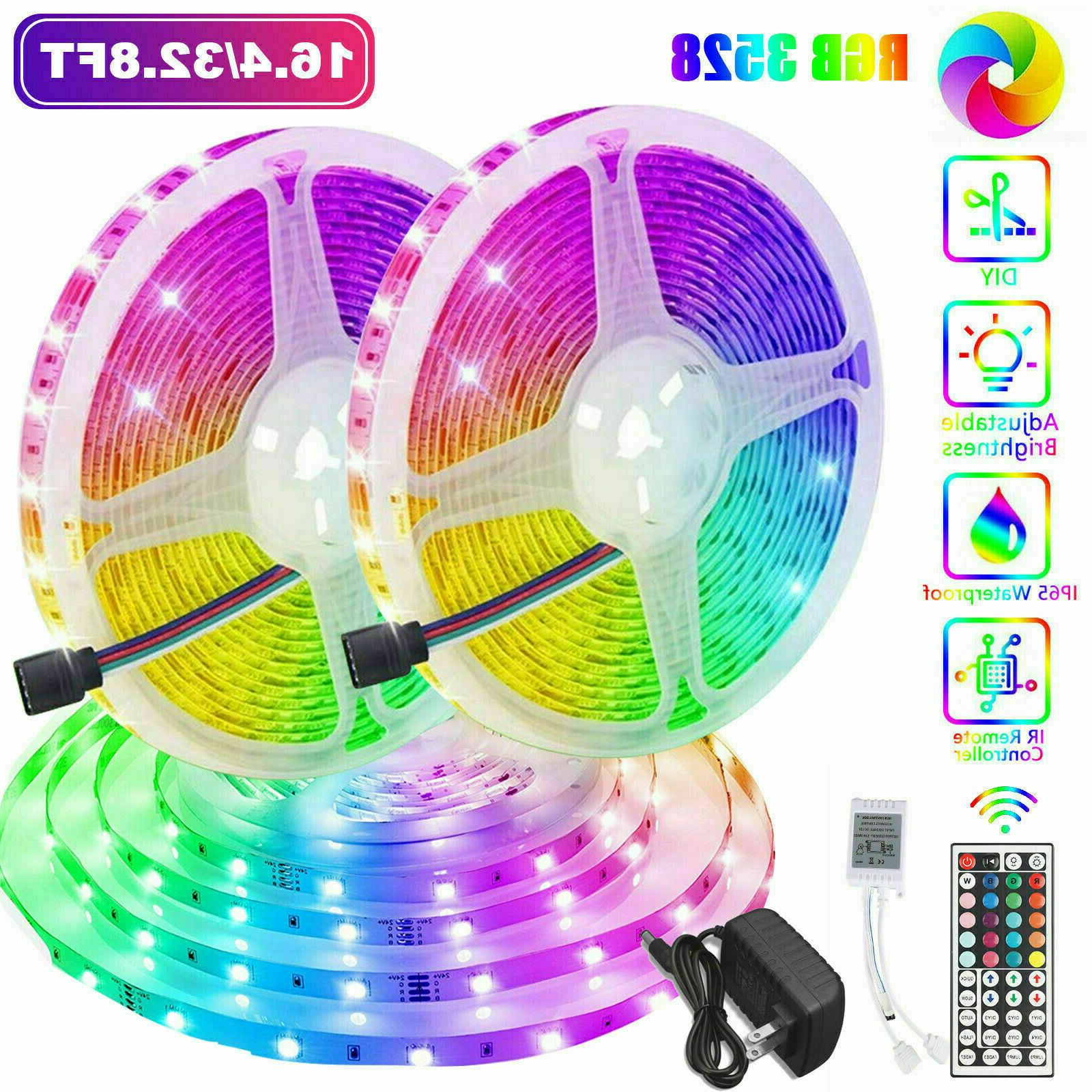 32FT Flexible 3528 RGB LED SMD Strip Light Remote Fairy Ligh