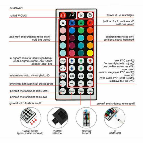 32.8 Feet RGB 5050 Flexible Strip Lights SMD Key Remote 12V Power