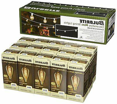 Bulbrite White Outdoor String Light w/ 15 Vintage Spiral Fil