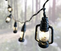 Lantern String Lights - Small Black Lantern LED Battery Oper