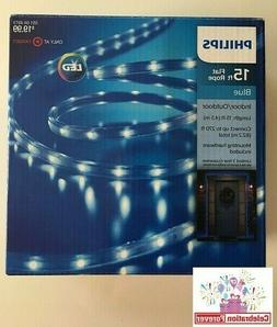 Philips LED 15 ft Lighted Flat Rope-Blue-Indoor/Outdoor-Whit