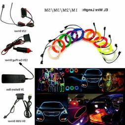 LED Car Interior Atmosphere Glow EL Wire Neon String Strip L