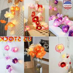 Led Fairy Lights String Light Artificial Flowers  Battery Op