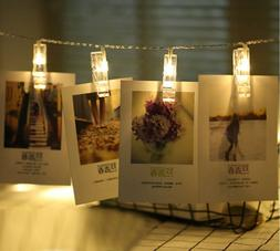 LED Hanging String Lights with Card Photo Clip for Bedroom R