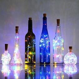 LED Light Wine Bottle Copper Wire String light bulb Cork Fes