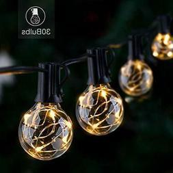 Novtech LED Outdoor String Lights 30FT 30Bulbs G40 Globe - W