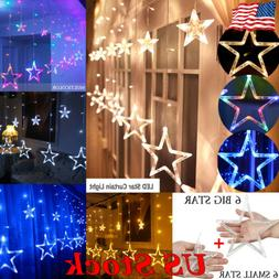 LED Star Curtain String Lights 12 Stars 138 LEDs Window Icic