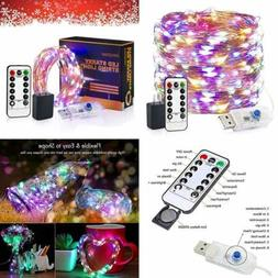 LED String Lights 33Ft 100 USB Plug In Fairy 8 Modes Dimmabl