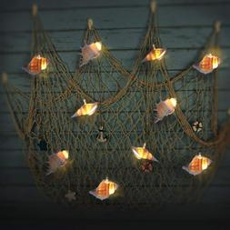 LED String Lights with Timer, Ocean Conch Beach Themed Batte