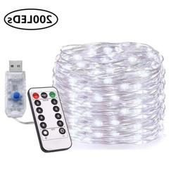 LED USB String Lights 8 Mode 200 LED Silver Wire Starry Fair
