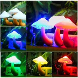 LIGHT SENSOR Wall Plug in LED Night Light Mushroom Lamp for