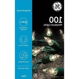 GE Long String White Mini Clear Lights 100 Count Outdoor / I