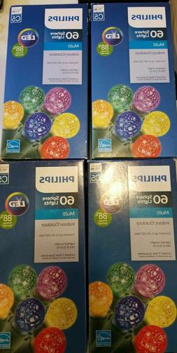 Lot of 4 Philips 60 LED Multi-Color Faceted Sphere String Li