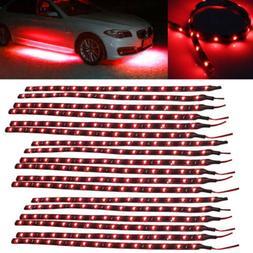 Lots Red LED Strip Lights Interior Glow Neon Lighting Car Tr
