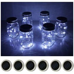 6 Pack Mason Jar Lights 10 LED Solar Cold White Fairy String