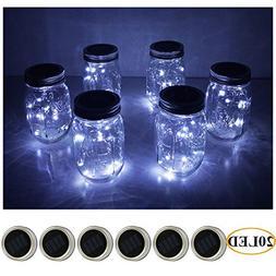 6 Pack Mason Jar Lights 20 LED Solar Cold White Fairy String