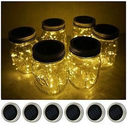 Mason Jar Lights 6 Pack 10 LED Solar Warm White Fairy String