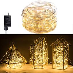 100 LED Warm White Starry Lights Plug In on 32 Ft Silver Ult