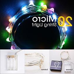 LIDORE Micro LED 20 Multi color String Lights with Timer, Ba