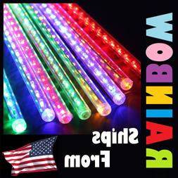 Multicolor Rainbow 8 LED Meteor Shower Icicle Tube String De
