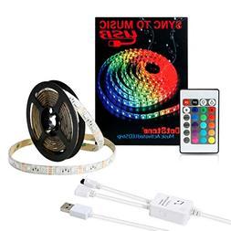 Music LED Strip Lights 6.6FT/2M 5V USB Powered Light Strip 5
