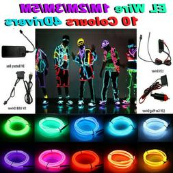 KSIPZE Neon LED Light Glow EL Wire String Strip Rope Tube De