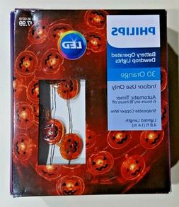 NEW Philips 30ct Battery Operated DewDrop Orange Lights Jack