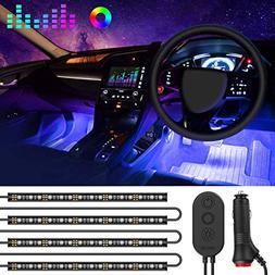 One-Line Car Interior Lights, MINGER 4pcs 48 LED RGB Multico