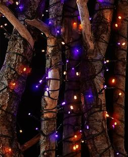 Orange 100-Light Solar String Lights Tree Yard Lawn Porch Pa