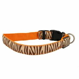 Orange LED Light Flashing Zebra-Stripe L Size Dog Neck Colla