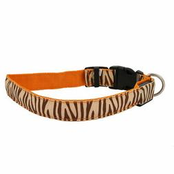 Orange LED Light Flashing Zebra-Stripe XL Size Dog Neck Coll