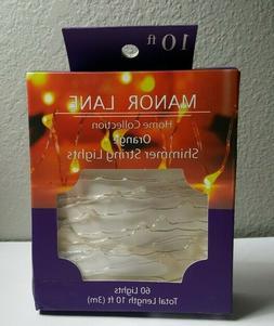 Orange Shimmer String 60 LED Lights 10 FT W/Timer Battery Op