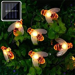 ER CHEN Solar Powered String Lights, 30 Cute Honeybee LED Li