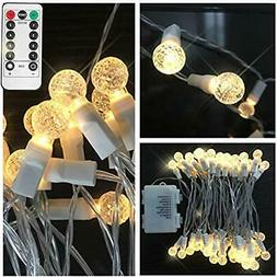 Outdoor Camping String Lights, Battery Operated Crystal Glob